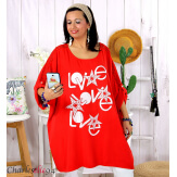 Tunique longue dentelle bohème grande taille LIVA rouge Tunique femme grande taille