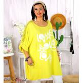 Tunique longue dentelle bohème grande taille LIVA jaune Tunique femme grande taille