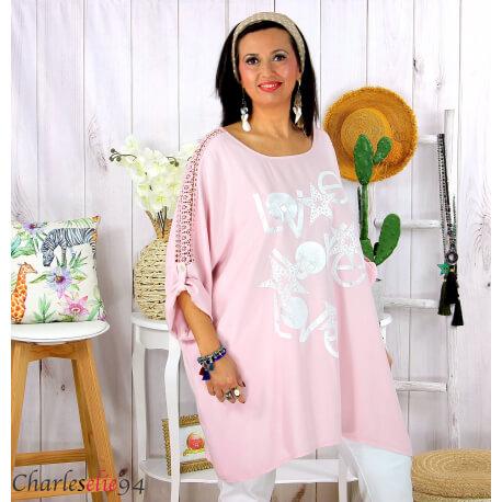 Tunique longue dentelle bohème grande taille LIVA rose Tunique femme grande taille
