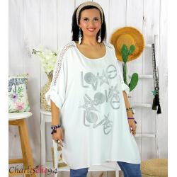 Tunique longue dentelle bohème grande taille LIVA blanche Tunique femme grande taille