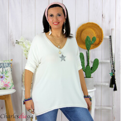 Tunique pull léger femme grande taille maille DAMAS blanc Tunique femme grande taille