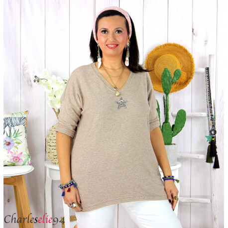 Tunique pull léger femme grande taille maille DAMAS camel Tunique femme grande taille