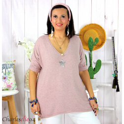 Tunique pull léger femme grande taille maille DAMAS rose Tunique femme grande taille