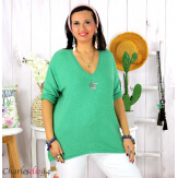 Tunique pull léger femme grande taille maille DAMAS vert Tunique femme grande taille