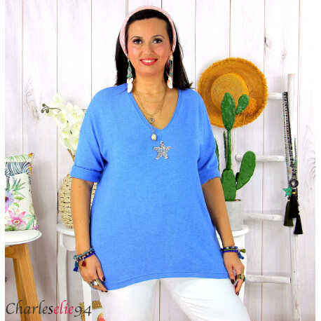 Tunique pull léger femme grande taille maille DAMAS bleu mer Tunique femme grande taille