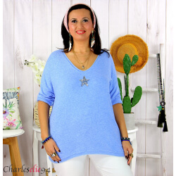 Tunique pull léger femme grande taille maille DAMAS bleu ciel Tunique femme grande taille