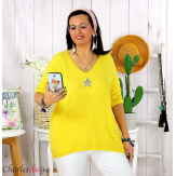 Tunique pull léger femme grande taille maille DAMAS jaune Tunique femme grande taille