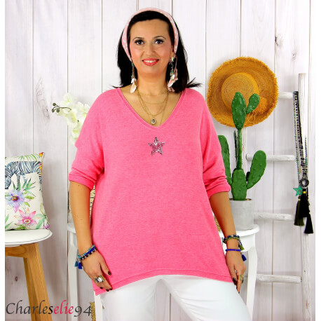 Tunique pull léger femme grande taille maille DAMAS fuchsia Tunique femme grande taille