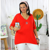 Tunique pull léger femme grande taille maille DAMAS rouge Tunique femme grande taille