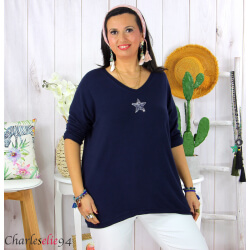 Tunique pull léger femme grande taille maille DAMAS marine Tunique femme grande taille