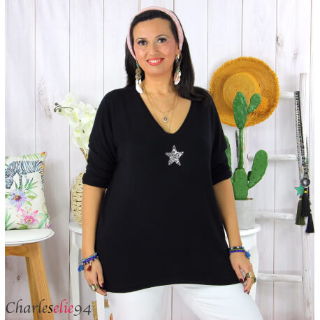 Tunique pull léger femme grande taille maille DAMAS noir Tunique femme grande taille