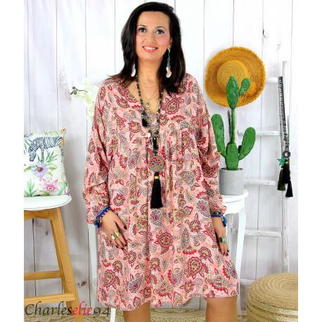 Robe tunique grande taille été bohème RUSTY framboise Robe tunique femme grande taille