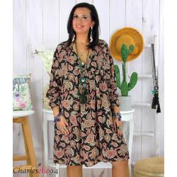 Robe tunique grande taille été bohème RUSTY noire Robe tunique femme grande taille