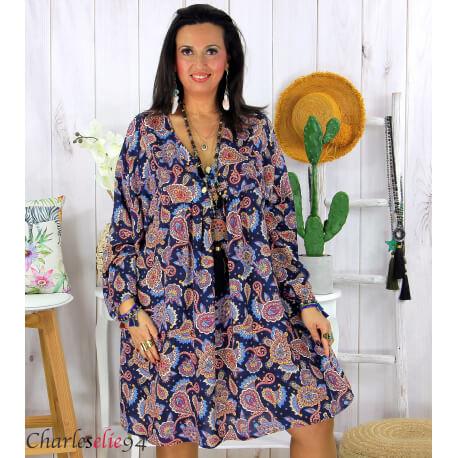 Robe tunique grande taille été bohème RUSTY marine Robe tunique femme grande taille