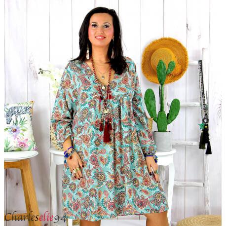Robe tunique grande taille été bohème RUSTY vert Robe tunique femme grande taille