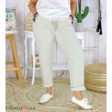 Pantalon femme grande taille stretch été LIPA beige Pantalon femme grande taille
