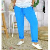 Pantalon femme grande taille stretch été LIPA bleu roi Pantalon femme grande taille