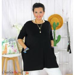Tunique longue boule grande taille coton STORIE noire Tee shirt tunique femme grande taille