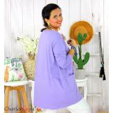 Tunique longue boule grande taille coton STORIE parme Tee shirt tunique femme grande taille
