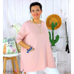 Tunique longue boule grande taille coton STORIE rose Tee shirt tunique femme grande taille