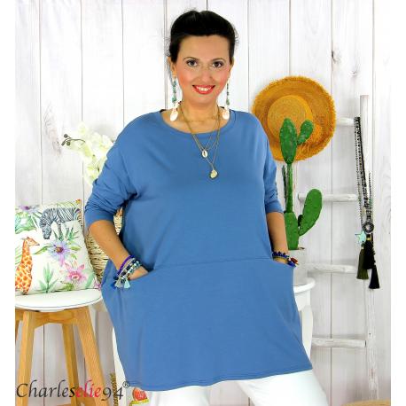 Tunique longue boule grande taille coton STORIE jean Tee shirt tunique femme grande taille