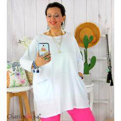 Tunique longue boule grande taille coton STORIE blanche Tee shirt tunique femme grande taille