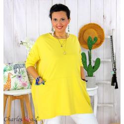 Tunique longue boule grande taille coton STORIE jaune Tee shirt tunique femme grande taille