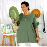 Tunique longue boule grande taille coton STORIE kaki Tee shirt tunique femme grande taille