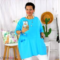 Tunique longue boule grande taille coton STORIE turquoise Tee shirt tunique femme grande taille