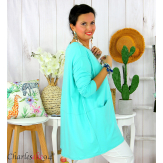 Tunique longue boule grande taille coton STORIE vert été Tee shirt tunique femme grande taille