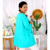 Tunique longue boule grande taille coton STORIE lagon Tee shirt tunique femme grande taille