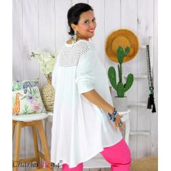 Tunique t-shirt dentelle grande taille évasée JUBBA blanc Tunique femme grande taille