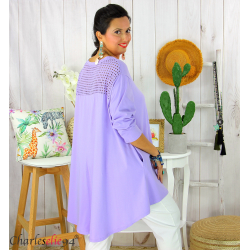 Tunique t-shirt dentelle grande taille évasée JUBBA parme Tunique femme grande taille