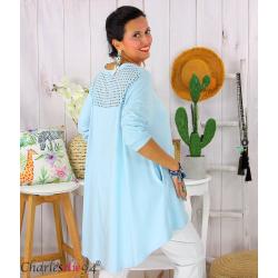 Tunique t-shirt dentelle grande taille évasée JUBBA ciel Tunique femme grande taille
