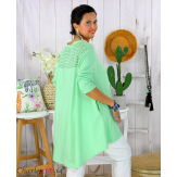 Tunique t-shirt dentelle grande taille évasée JUBBA vert Tunique femme grande taille