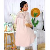 Tunique t-shirt dentelle grande taille évasée JUBBA rose Tunique femme grande taille