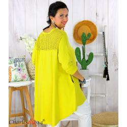 Tunique t-shirt dentelle grande taille évasée JUBBA jaune Tunique femme grande taille
