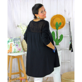 Tunique t-shirt dentelle grande taille évasée JUBBA noir Tunique femme grande taille
