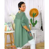 Tunique t-shirt dentelle grande taille évasée JUBBA kaki Tunique femme grande taille