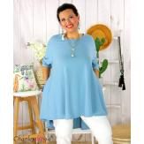Tunique t-shirt dentelle grande taille évasée JUBBA bleu jean Tunique femme grande taille