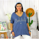 Tunique pull léger femme grande taille maille OHLALA bleu jean Tunique femme grande taille