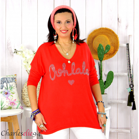 Tunique pull léger femme grande taille maille OHLALA rouge Tunique femme grande taille