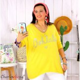 Tunique pull léger femme grande taille maille OHLALA jaune Tunique femme grande taille