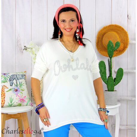 Tunique pull léger femme grande taille maille OHLALA blanc Tunique femme grande taille