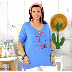 Tunique pull léger femme grande taille maille MILOS bleu mer Tunique femme grande taille