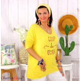 Tunique pull léger femme grande taille maille MILOS jaune Tunique femme grande taille