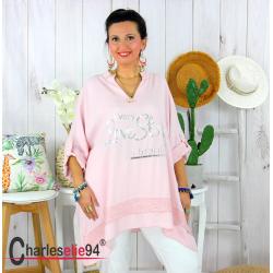 Tunique bohème été femme grande taille GAMAY rose Tunique femme grande taille
