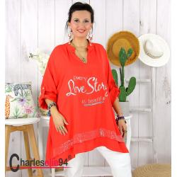 Tunique bohème été femme grande taille GAMAY rouge Tunique femme grande taille