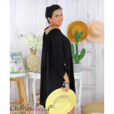 Tunique longue grande taille dentelle évasée JUNA noire Tunique femme grande taille