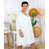 Tunique longue grande taille dentelle évasée JUNA blanche Tunique femme grande taille